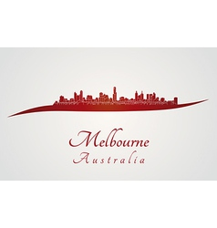 Melbourne skyline in red vector