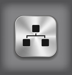 network icon - metal app button vector image