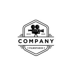 old classic film camera logo template vector image