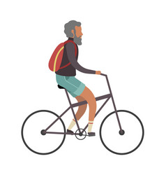 old man cyclist elderly on bike with vector image