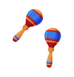 Pair colorful maracas percussion wooden musical vector