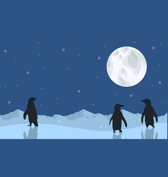Penguin scenery with moon silhouettes vector