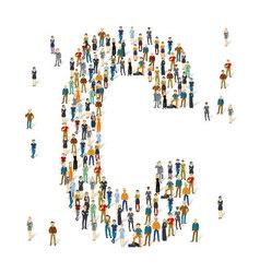 People crowd alphabet abc letter c vector