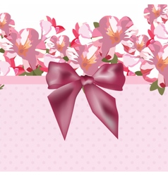 Pink flowers bouquet card with shinny bow vector