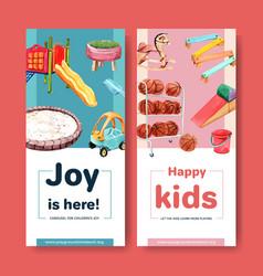Playground flyer design with slide basketball vector