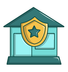 Protected home icon cartoon style vector