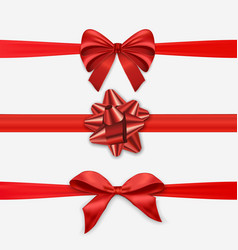 Red christmas ribbon bow set for holiday season vector