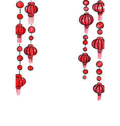 Red lantern mobile hanging watercolor frame vector