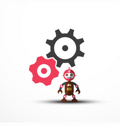 robot icon with cogs - gears symbol vector image