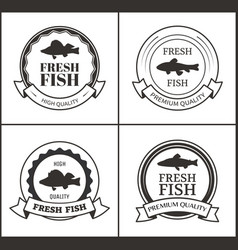 round emblems with ribbon and fish shadow vector image