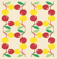 seamless background with cherries from geometric s vector image