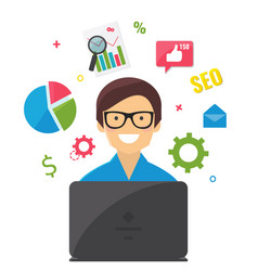 Seo and online marketing concept seo specialist vector