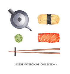Set isolated watercolor sushi design on white vector