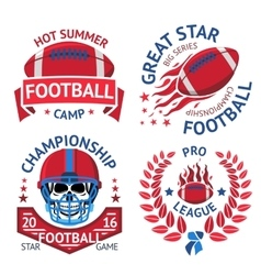 Set of american football labels with burning ball vector image