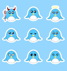set penguin stickers with different emotions vector image