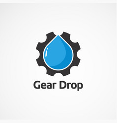 Simple gear drop logo icon element and template vector