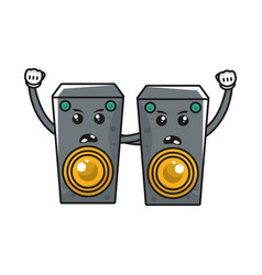Speakers sound comic characters icon vector
