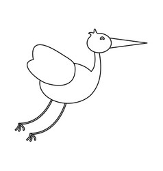 stork bird animal in black and white vector image