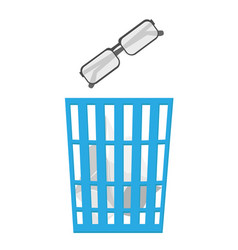 Throw unnecessary optical glasses in the trash vector