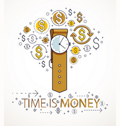 time is money concept hand watch and dollar icons vector image