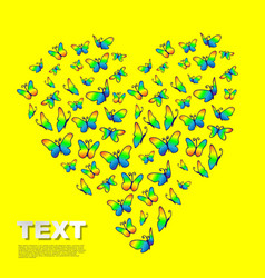 Valentines heart butterflies vector