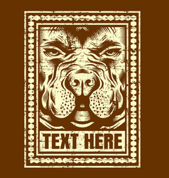vintage head dog hand drawing vector image