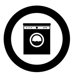 washing machine the black color icon in circle or vector image