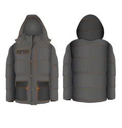 winter hooded jacket with vector image