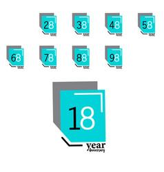 Year anniversary template design blue box elegant vector