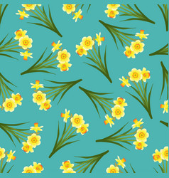 Yellow daffodil - narcissus seamless on blue teal vector