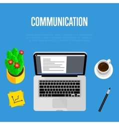 Communication concept Top view office workspace vector image vector image