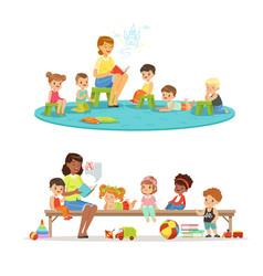 group of preschool kids and teacher teacher vector image