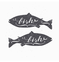 Hand drawn salmon fish hipster silhouette vector image vector image