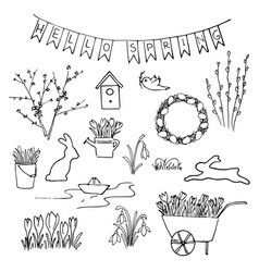 hello spring sketch set first flowers gardening vector image vector image