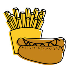 hot dog and french fries food diet vector image vector image
