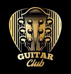 logo template plectrum and guitar vector image vector image