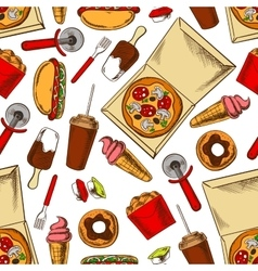 Seamless takeaway fast food pattern background vector image vector image