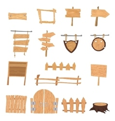 Wooden cartoon signs vector image vector image