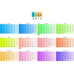 Calendar 2013 vector image vector image