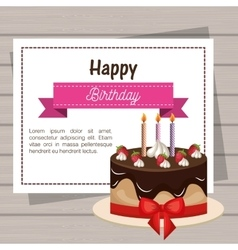 card birthday cake chocolate ribbon graphic vector image
