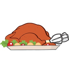 Cartoon turkey meal vector image
