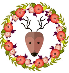 deer and floral wreath separated vector image vector image