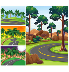 four scenes with roads and forest vector image vector image