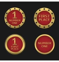 Golden badge set vector