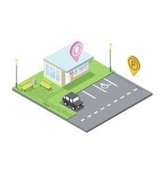 isometric ice cream shop with parking and place vector image