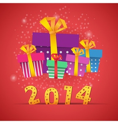 New year origami paper gift boxes vector image