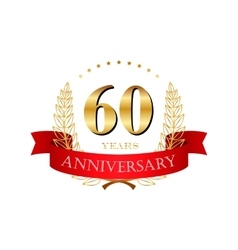 60 years anniversary golden label with ribbons vector image
