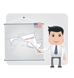 Man with a pointer points to a map of MARYLAND vector image