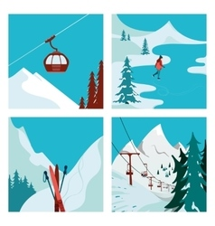 Ski Resort in the mountains vector image