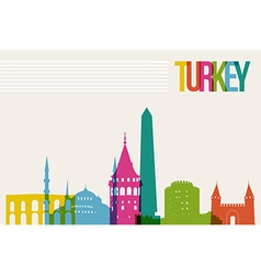 Travel Turkey destination landmarks skyline vector image